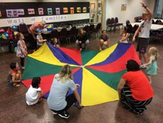 Parachute game as part of Vacation Bible School 2015